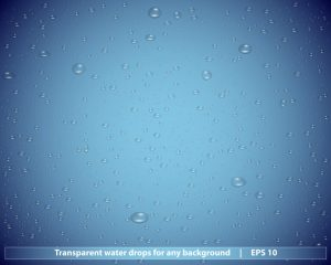 Transparent water drops for any non-white background - vector illustration
